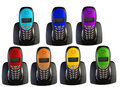 Many telephones in color of rainbow, collage Royalty Free Stock Images