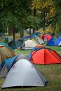 Many tents in nature at a festival campsite Royalty Free Stock Image