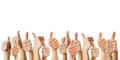 Many thumbs up against white background Royalty Free Stock Photo