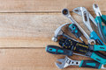 Many tools on old wooden panel Royalty Free Stock Photo