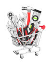 Many Tools in shopping cart Royalty Free Stock Photo