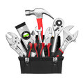 Many tools in tool box isolated on white background Stock Photos