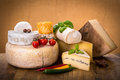 Many types of french cheeses Royalty Free Stock Photo