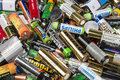 Many used AA and AAA sized batteries Royalty Free Stock Photo