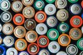 Many used batteries from different manufacturers. Old batteries for recycling Royalty Free Stock Photo