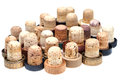 Many used corks from alcoholic spirits isolated on white background Royalty Free Stock Images