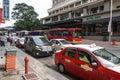 Many vehicles parking on street in Kuala Lumpur, Malaysia