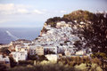 Many white houses on a cliff Royalty Free Stock Photo