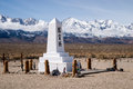 Manzanar memorial and sierra mountains to japanese americans interned at relocation camp during ww ii stand in contrast to the Royalty Free Stock Images