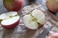 Manzanas rojas en el vector de madera Foto de archivo libre de regalías