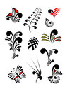 Maori koru design elements color reeks Royalty-vrije Stock Afbeeldingen