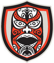 Maori mask shield retro illustration of a traditional facing front set inside done in style on isolated background Stock Photography