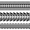 Maori polynesian tattoo border. Tribal sleeve seamless pattern vector.