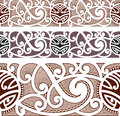 Maori styled seamless pattern editable vector illustration Stock Photo