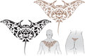 Maori styled tattoo pattern shape manta ray fit upper lower back Royalty Free Stock Image