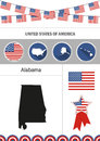Map of Alabama. Set of flat design icons nfographics elements wi