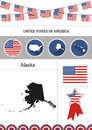 Map of Alaska. Set of flat design icons nfographics elements wit