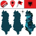 Map of albania with named divisions vector and travel icons Royalty Free Stock Photos