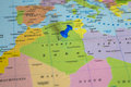 Map of Algeria with a blue pushpin stuck Royalty Free Stock Photo