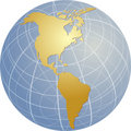 Map of the Americas on globe   Royalty Free Stock Photos