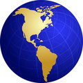 Map of the Americas on globe  illustration Stock Photo