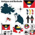 Map of antigua and barbuda vector set with detailed country shape with region borders flags icons Stock Photos