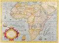 Map antique maps of the world of africa jodocus hondius c Stock Images