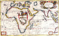 Map antique maps of the world of africa vincenzo coronelli c Stock Image