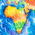 Map. Aquarelle drawing of Africa relief map. View to Earth from space. Royalty Free Stock Photo