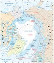 Map of the Arctic region, the northwest passage and the northern sea route Royalty Free Stock Photo