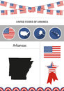 Map of Arkansas. Set of flat design icons nfographics elements w