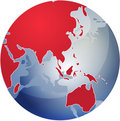 Map of Asia on globe  illustration Royalty Free Stock Photo