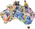 Map of Australia with Australian money. Royalty Free Stock Photo