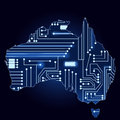 Map of australia with electronic circuit contour a technological electronics Stock Photography