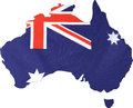 Map Of Australia With Flag Bac...