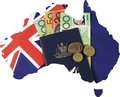 Map of Australia with flag, cash and passport for travel concept. Royalty Free Stock Photo