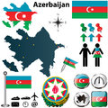 Map of azerbaijan vector set with detailed country shape with region borders flags and icons Stock Photos