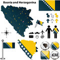 Map of bosnia and herzegovina vector set with detailed country shape with region borders flags icons Royalty Free Stock Photography