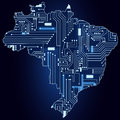 Map of brazil with electronic circuit contour a technological electronics Stock Image