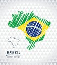 Map of Brazil with hand drawn sketch pen map inside. Vector illustration