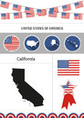 Map of California. Set of flat design icons nfographics elements