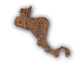 Map of Central America on rusty metal