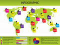 Map and chart infographic Royalty Free Stock Image
