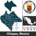 Map of Chiapas, Mexico Royalty Free Stock Photo