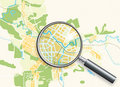 Map of the City and A Loupe Royalty Free Stock Photos