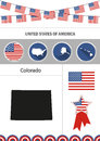 Map of Colorado. Set of flat design icons nfographics elements w
