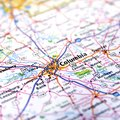 Map of columbia a view with the focus on south carolina Stock Image
