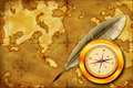 Map, compass and pen Stock Photography