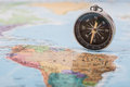 Map with compass a photograph shallow depth of field of a black on a selective focus Stock Images
