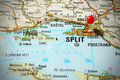 Map of Croatia - Split Royalty Free Stock Photo